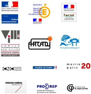 logos de l'Acsé, du Ministère de la culture, arcadi, Mairie du 20ème, du CNC, Procirep, passeur d'images, Mission cinéma Paris films