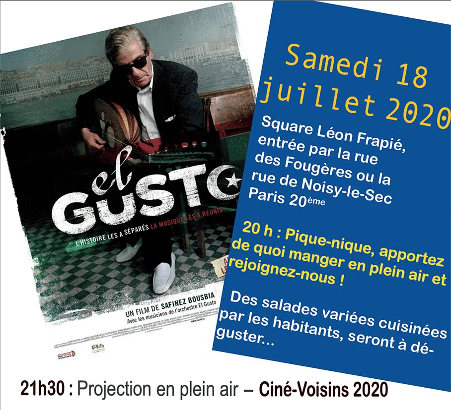Ciné-Voisons 2020, projection en plein du film El Gusto aux Fougères