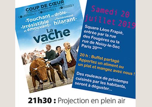 Affiche du film La Vache pour ciné-Voisins 2019 aux Fougeres avec Zone Vive.