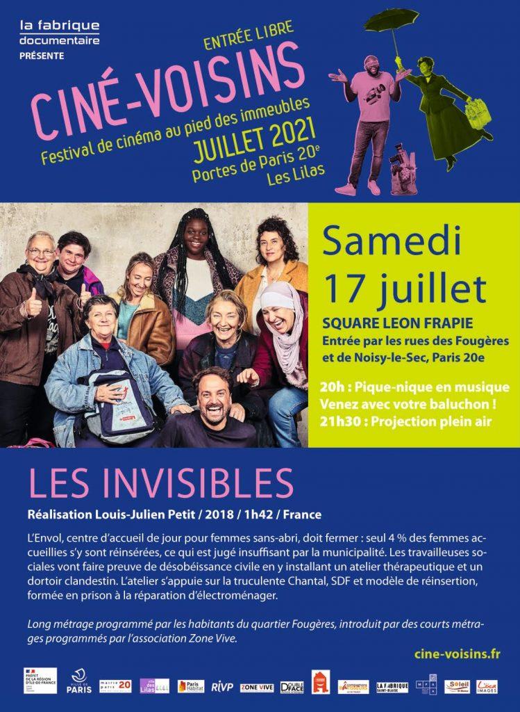 Flyer de la projection du film Les invisibles aux Fougères
